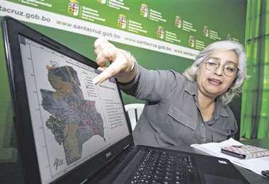 La bióloga Pamela Rebolledo explica los avances en el trabajo de las mesas técnicas, que diseñan el plan de acción en las áreas afectadas. Foto: JORGE IBÁÑEZ