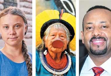 Greta Thunberg, el líder indígena brasileño Raoni Metuktire y el primer ministro etíope, Abiy Ahmed, favoritos