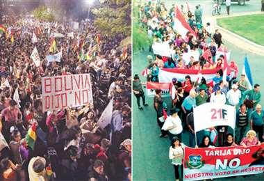 En Cochabamba se realizó anoche el Cabildo por la democracia en la plaza de las Banderas; en Tarija cívicos marcharon por las calles del centro