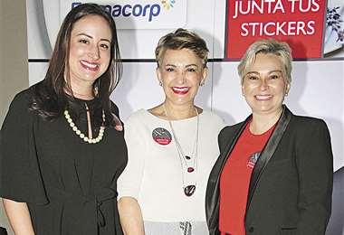 Las anfitrionas. Andrea Landívar, María Eugenia Gutiérrez y María del Rosario Paz