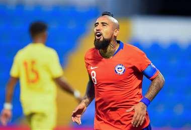 Arturo Vidal anotó uno de los tres goles con los que ganó Chile. Foto. AFP