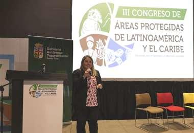 Asín durante su intervención en el congreso realizado en Perú. Foto Gobernación