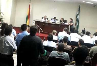 Así se desarrolla la audiencia en instalaciones del Palacio de Justicia. Foto: Rafael Veliz