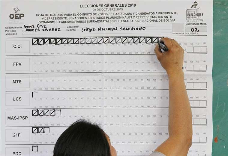 Este conteo de votos en el Colegio Nacional Salesiano muestra la preferencia que tuvieron los cruceños al momento de marcar la papeleta en los distintos recintos de la capital. FOTOS: HERNÁN VIRGO Y FUAD LANDÍVAR