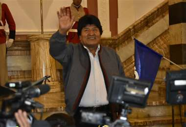El jefe de Estado celebró su triunfo en Palacio Quemado I Foto: APG Noticias.