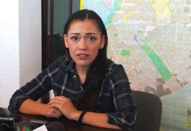 Adriana Salvatierra brindó este martes una conferencia de prensa en Santa Cruz