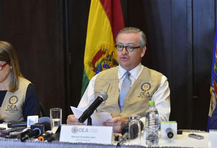 El jefe de la misión de la OEA ofreció un informe preliminar en La Paz.
