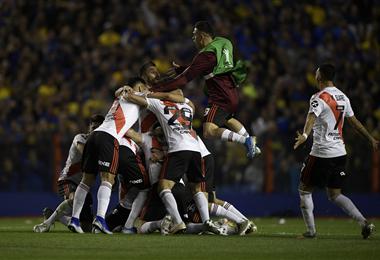 Los jugadores de River celebran la clasificación a la gran final de la Copa Libertadores 2019. Eliminaron a Boca. Foto. AFP