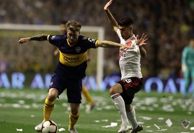 El partido se juega en la Bombonera. El ganador de la llave jugará la final de la Copa. Foto. AFP