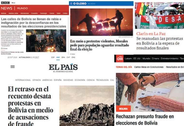Importantes periódicos de Argentina, Brasil, Perú, España, Reino Unido, entre otros, están dando una cobertura especial al conflicto boliviano