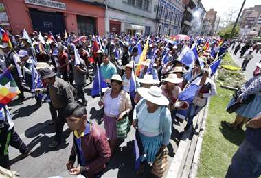La marcha llegó hasta la Plaza 14 de Septiembre en el centro cochabambino. (Foto: APG)