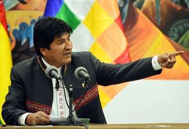 Evo Morales en conferencia de prensa este jueves en La Paz