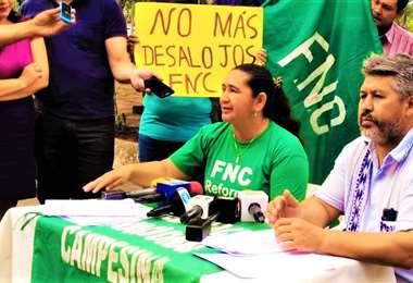 La conferencia de prensa de los campesinos paraguayos fue realizada hoy (Foto: FNC)