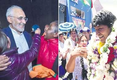 Mesa y Morales en un baño de pueblo para reafirmar su decisión de defender su voto en las calles. Foto: AFP