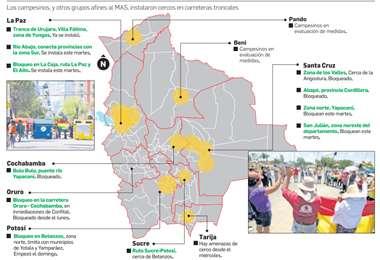 Sectores afines al MAS iniciaron el bloqueo a urbes donde hay protestas. Rubén Costas dijo que se llamó a la violencia. El 'vice' dijo que Morales solo anunció la movilización