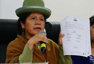 Choque es la presidenta del Tribunal Supremo Electoral. No atendió las llamadas de EL DEBER