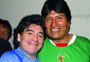 Diego Maradona y Evo Morales