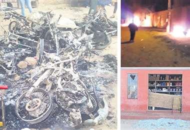 Más de una decena de motos fueron quemadas en el ataque que sufrieron quienes apoyan el paro cívico. EL DEBER / REDES SOCIALES