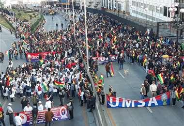 La concentración en la sede de Gobierno I Foto: Marco Chuquimia.