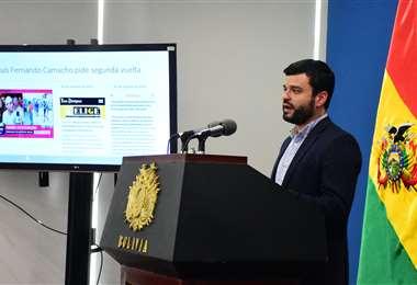 Manuel Canelas brindó una conferencia de prensa este jueves en la mañana (ABI)
