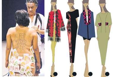 La sorpresa en la performance. A la derecha, diseños con tejidos isoseños propuestos por Claudia Jarandilla