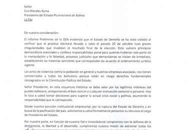 La entidad empresarial pidió la renuncia del presidente de Bolivia, Evo Morales velando por los intereses del pueblo boliviano