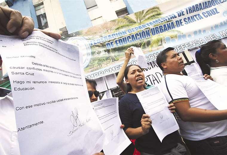 Los maestros urbanos no quieren de vuelta a Salomón Morales ni la reprogramación del calendario escolar. Foto: Hernán Virgo