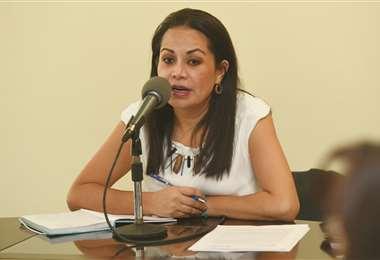 La autoridad en conferencia de prensa I Foto: ABI.