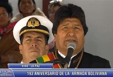 El jefe de Estado en el acto de la Armada Boliviana I Foto: captura.