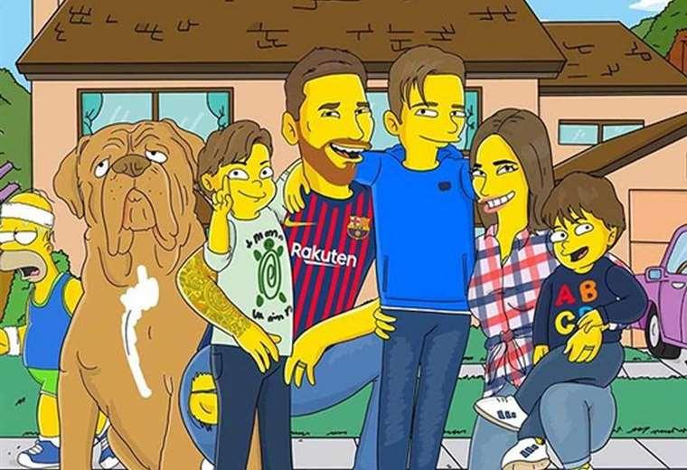 """Los Messi como personajes de """"Los Simpson"""". Foto: Twitter"""