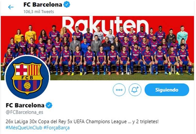 La cuenta oficial de Twitter del Barcelona