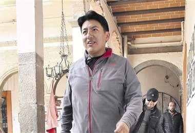 Pumari dio una conferencia de prensa en el Hotel Torino, en La Paz. Foto: APG Noticias