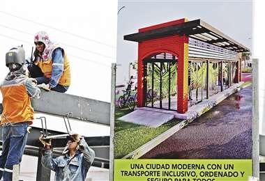 Obreros trabajan en la construcción de las estaciones de transferencia, que serán 24