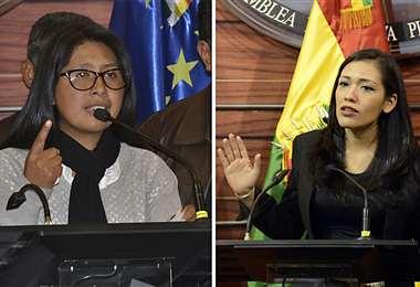 La presidenta del Senado, Eva Copa, pide a Adriana Salvatierra dejarla trabajar. Fotos: ABI