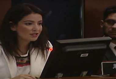 La activista cuestionó el silencio de la comunidad internacional durante la gestión de Evo