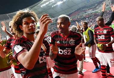 Así celebraron los jugadores del Flamengo el pase a la final del mundial en Catar. Foto. AFP