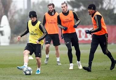 Gareth Bale trabajando con el resto de sus compañeros. Foto: Club Real Madrid
