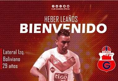 Heber Leaños fue anunciado en Guabirá. Foto: Club Guabirá