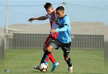 Una de las jugadas del partido que se disputó en Iquique. Foto: @ClubDIquique