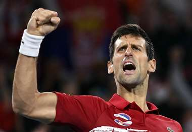 Novak Djokovic celebrando el logro. Foto: AFP