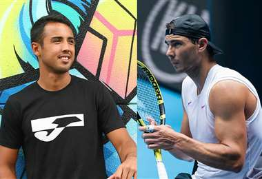 Dellien y Nadal se enfrentarán esta noche en primera ronda en el Abierto de Australia. Fotos. Prensa Dellien y AFP