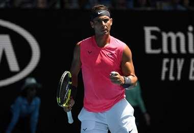 Rafael Nadal celebrando en pleno partido. Foto: AFP