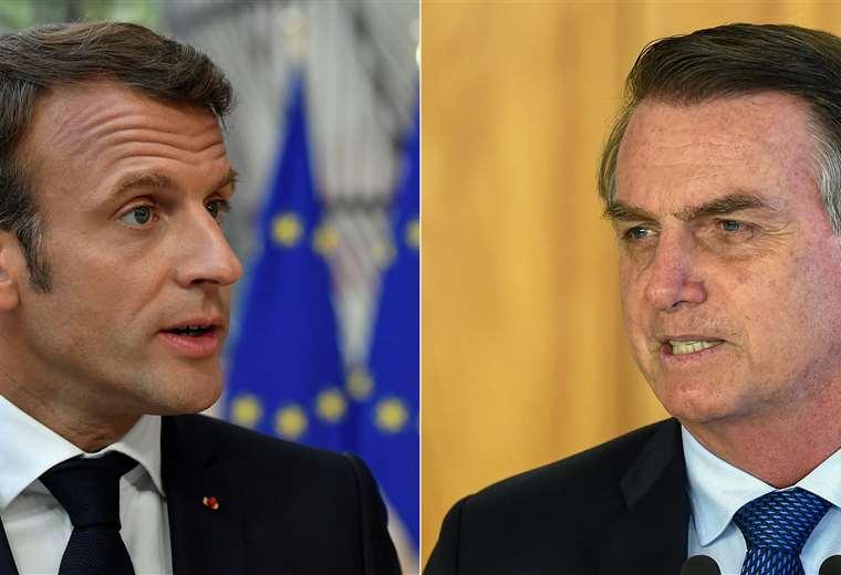 Los presidentes de Francia y Brasil continúan enfrentados. Foto: AFP