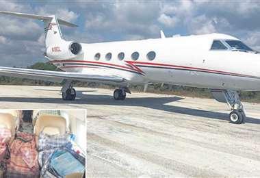La droga iba en bolsones de uso doméstico en el jet con matrícula estadounidense