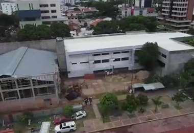 Imagen aérea del módulo del colegio Nacional Florida