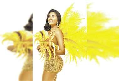 Entusiasta. Anny Beltrán es la soberana del Carnaval de Yapacaní. Rendirá homenaje a la gran Chiquitania. Foto: Reynaldo Soliz/Vestuario: Fiorillo&Fiorillo/Arreglo Personal: Álex Rojas