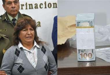 Palacios fue aprehendida en el aeropuerto de El Alto con $us 100.000 dólares. Fotos: ABI