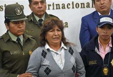María Palacios fue aprehendida en el aeropuerto de El Alto. Foto: ABI