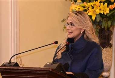 Áñez agradeció a organizaciones internacionales por acompañar el proceso electoral que vivirá Bolivia en mayo. Foto Periódico Bolivia