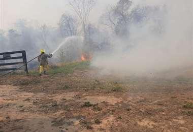 Un incendio en Caaguazú. Foto ABC